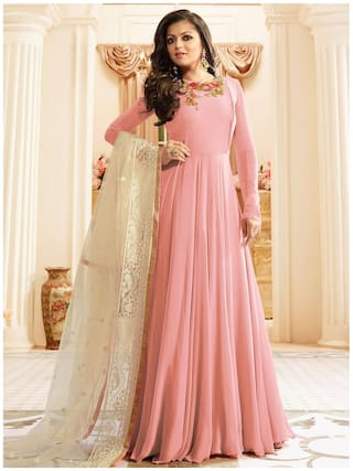 ETHNIC YARD Georgette Comfort Solid Gown - Peach