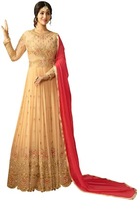 ETHNIC YARD Georgette Mix Match Dress Material - Beige