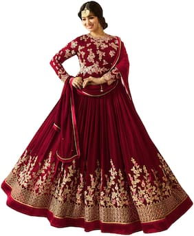 ETHNIC YARD Georgette Regular Floral Gown - Red