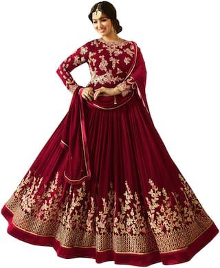 Ethnic Yard Red Faux Georgette Embroidered Anarkali Salwar Suit