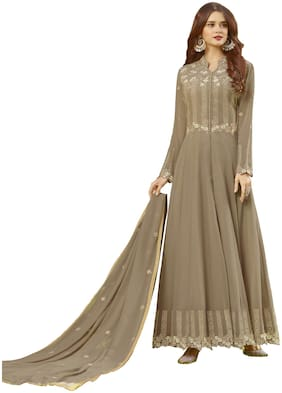 Ethnic Yard Georgette Semi Stitched Dress Material Beige Color