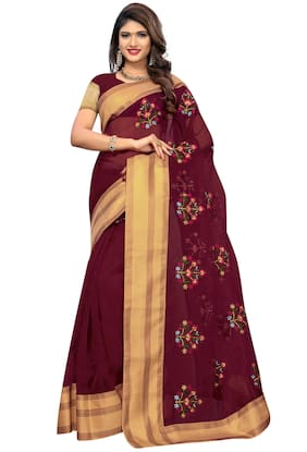 ETHNIC YARD Net Universal Embroidered work Saree - Maroon , With blouse