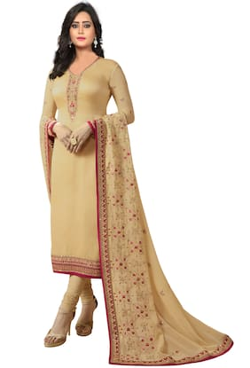 Ethnic Yard Georgette Embroidered Dress Material Beige