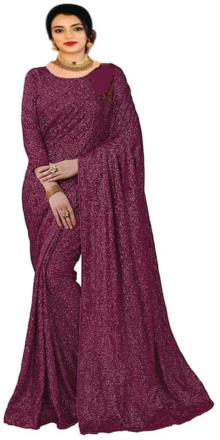 ETHNIC YARD Georgette Sequence Magenta Saree With Unstitched Blouse