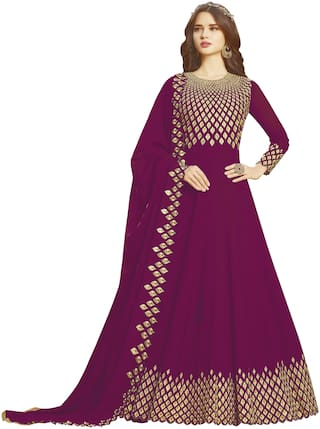 Ethnic Yard Purple Georgette Embroidered Anarkali Semi-Stitched Salwar Suit With Dupatta