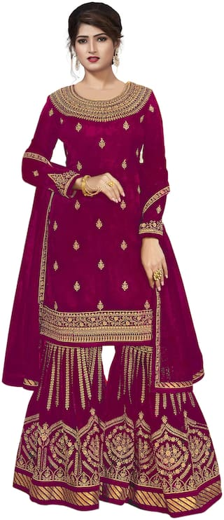 Ethnic Yard Embroidered Poly Georgette Straight Semi-Stitched Sharara Suit With Dupatta Purple