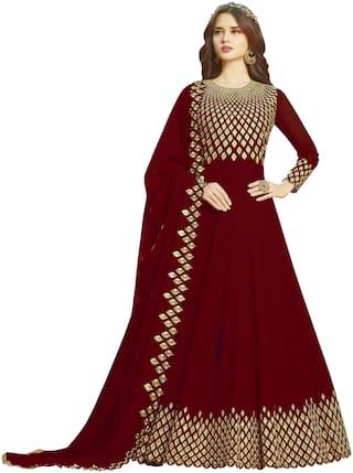 Ethnic Yard Maroon Georgette Embroidered Anarkali Semi-Stitched Salwar Suit With Dupatta
