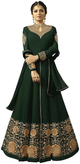 Ethnic Yard Georgette Partywear Dress Material Green color