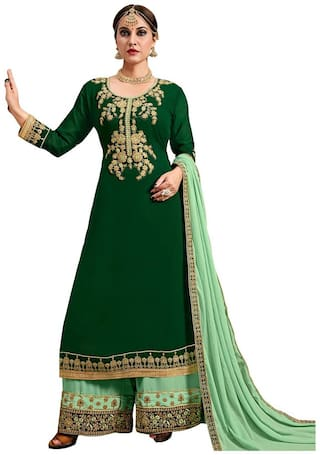 Ethnic Yard Embroidered  Poly Georgette Straight Semi-Stitched Plazzo Suit With Dupatta Green