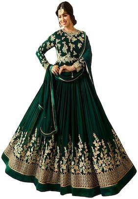Ethnic Yard Faux Georgette Green Semi-Stitched Anarkali Salwar Suits With Dupatta