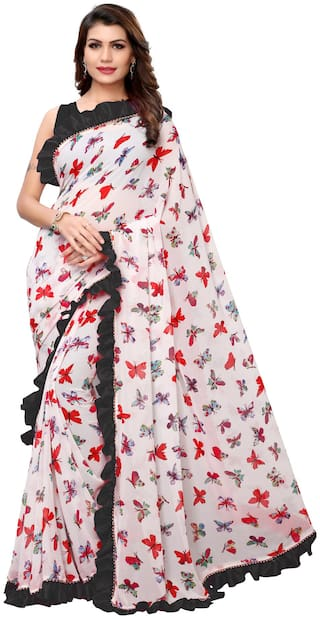 Ethnic Yard Georgette White & Black Printed Saree With Blouse