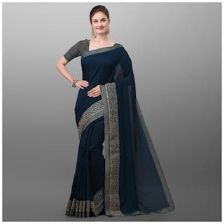 Ethnic Yard Navy Blue Polyester Solid Saree For Women