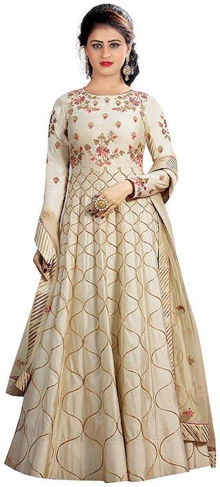 Ethnic Yard Silk Partywear Anarkali Dress Material Beige color