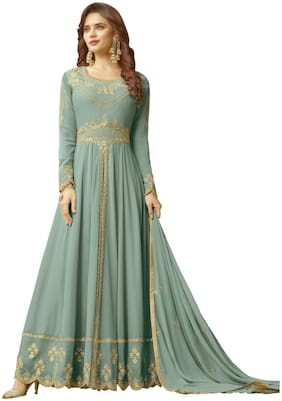 Ethnic Yard Georgette Semi Stitched Dress Material Blue Color