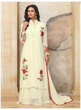 ETHNIC YARD Georgette Floral Dress Material - Cream