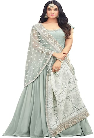 626900eb04 Ethnic Yard Dark Sea Green Faux Georgette Semi-Stitched Anarkali Salwar Suit