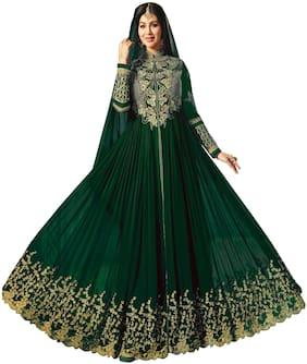 Ethnic Yard Faux Georgette Green Anarkali Salwar Suit With Dupatta