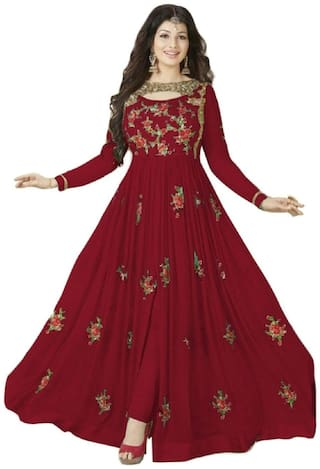 ETHNIC YARD Georgette Regular Solid Gown - Red