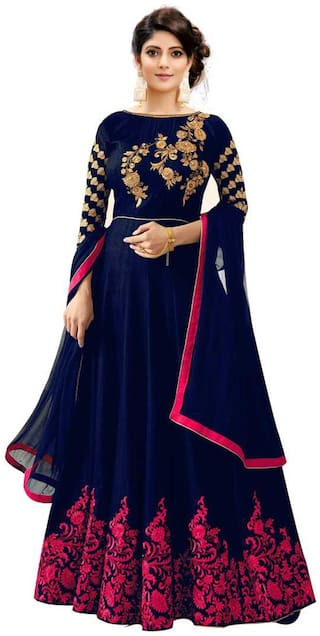 Ethnic Yard Bangalory Silk Navy Blue Semi-Stitched Anarkali Salwar Suit With Dupatta