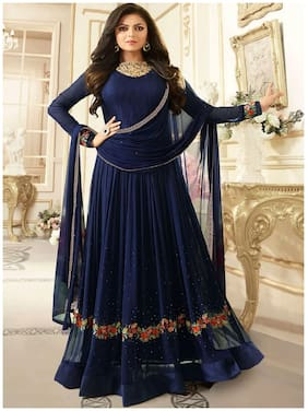 ETHNIC YARD Georgette Solid Dress Material - Blue