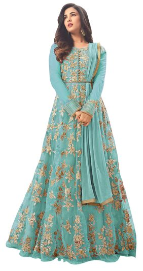 ETHNIC YARD Net Regular Floral Gown - Blue