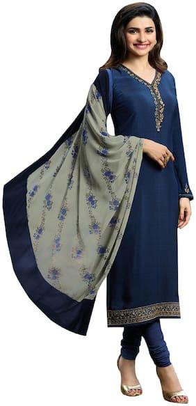 ETHNIC YARD Crepe Mix & Match Dress Material - Blue