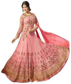 ETHNIC YARD Georgette Regular Floral Gown - Pink