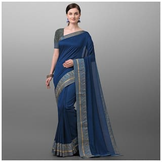 Ethnic Yard Turquoise Polyester Solid Saree For Women