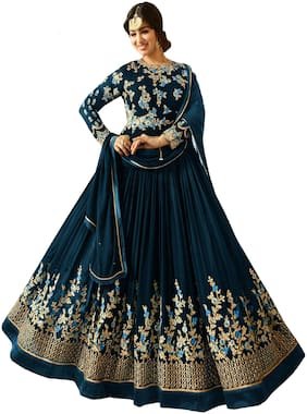 ETHNIC YARD Georgette Regular Floral Gown - Blue