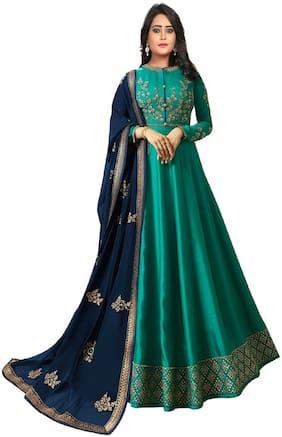 Ethnic Yard Turquoise Joya Silk Anarkali Semi-Stitched Salwar Suit