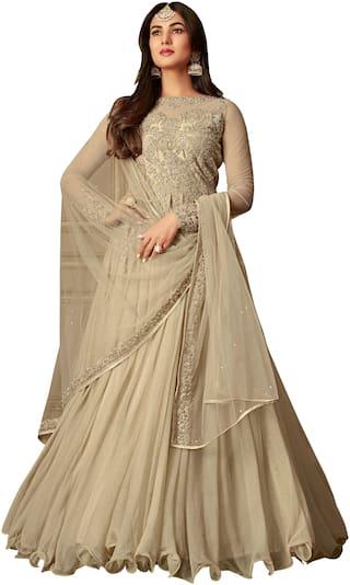 Ethnic Yard Beige Nylon Net Anarkali Semi-Stitched Salwar Suit