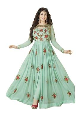 Ethnic Yard Light Green Georgette Anarkali Semi-Stitched Salwar Suit
