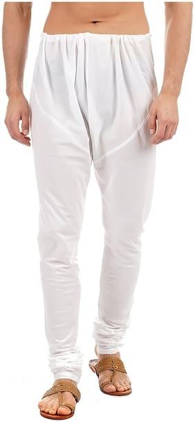 Ethnicity Men Blended Solid Churidar White