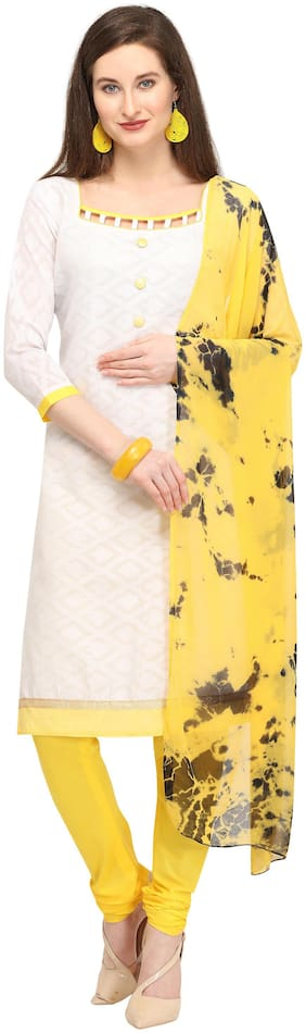 EthnicJunction Women Outstanding Cotton Jacquard Dress Material - Yellow and White
