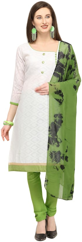 EthnicJunction Stunning Cotton Jacquard Casual Dress Material - White and Green
