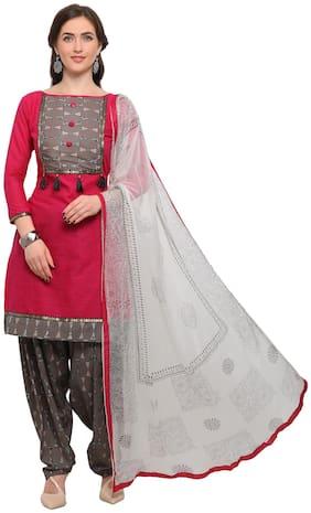 EthnicJunction Semistitch Embellished Top Bottom Dupatta Unstitched Dress Material ( Barbie Pink )