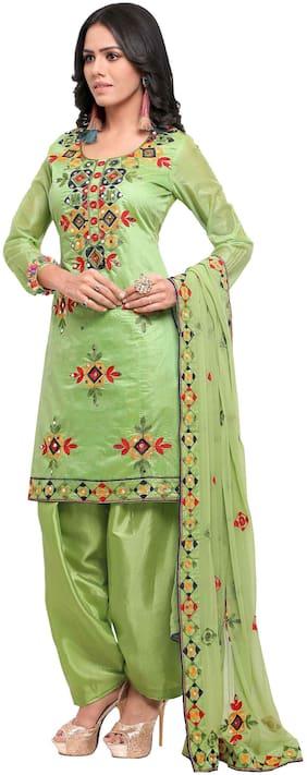 EthnicJunction Rajasthani Mirror Work Chanderi Embroidery Unstitched Salwar Kameez Dress Material ( EJ1180-88017;Light Green )