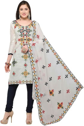 EthnicJunction Rajasthani Mirror Work Chanderi Embroidery Unstitched Salwar Kameez Dress Material ( EJ1180-88014;Offwhite )