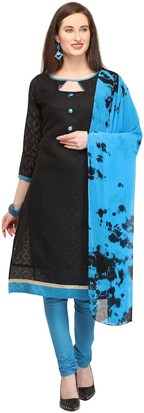 EthnicJunction Cotton Solid Dress Material - Blue & Black