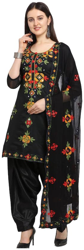 ETHNICMODE Black Unstitched Kurta with bottom & dupatta With dupatta Dress Material