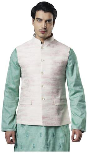 Ethnix By Raymond Men Polyester Regular fit Waistcoat - Pink