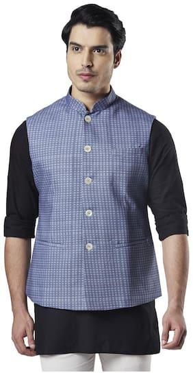 Ethnix By Raymond Men Cotton Regular fit Waistcoat - Blue