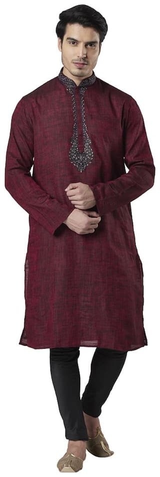 Ethnix By Raymond Men Maroon Regular Fit Kurta
