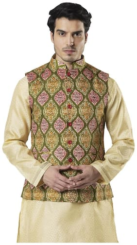 Ethnix By Raymond Men Green Printed Regular Fit Ethnic Jacket