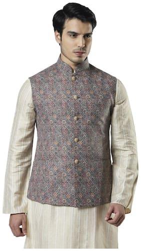 Ethnix By Raymond Men Polyester Regular fit Waistcoat - Brown