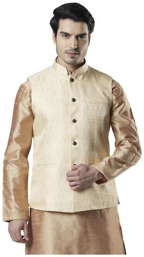Ethnix By Raymond Men Polyester Regular fit Waistcoat - Gold