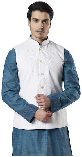 Ethnix By Raymond Men White Printed Regular Fit Ethnic Jacket