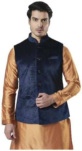 Ethnix By Raymond Men Polyester Regular fit Waistcoat - Blue