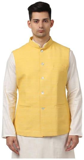 Ethnix By Raymond Men Yellow Solid Regular Fit Ethnic Jacket