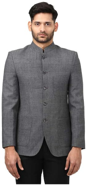 Ethnix Solid Blended Grey Regular Mandarin Collar Sleeveless Khadi Bundi